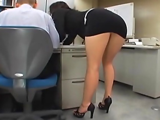 Japanese office girl gets fucked by two japanese asian office